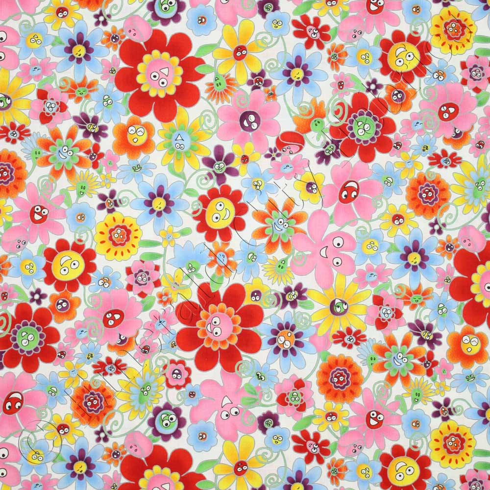 Rjr flower power happy floral white fabric emerald city for Quilting material