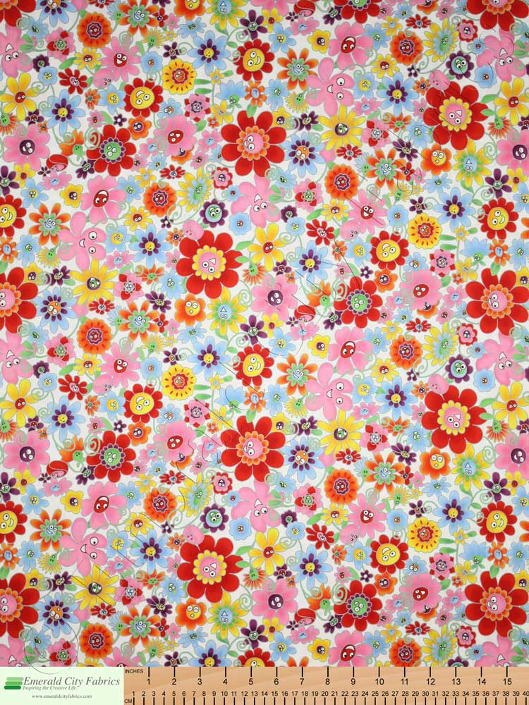 Rjr Flower Power Happy Floral White Fabric Emerald City