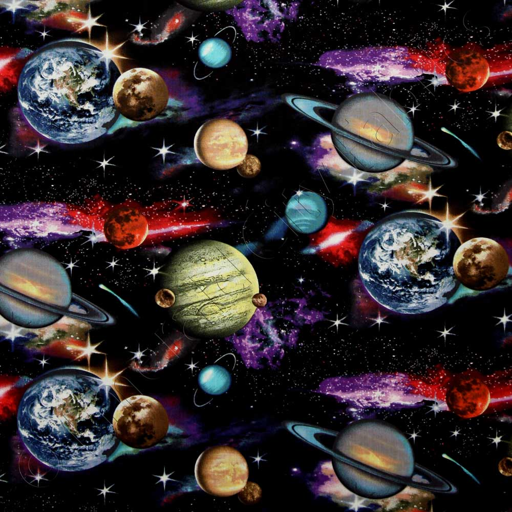 Elizabeth 39 s studio in space solar system planets galaxy for Solar system fabric panel
