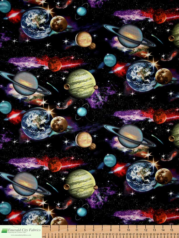 Elizabeth 39 s studio in space solar system planets galaxy for Space fabric material