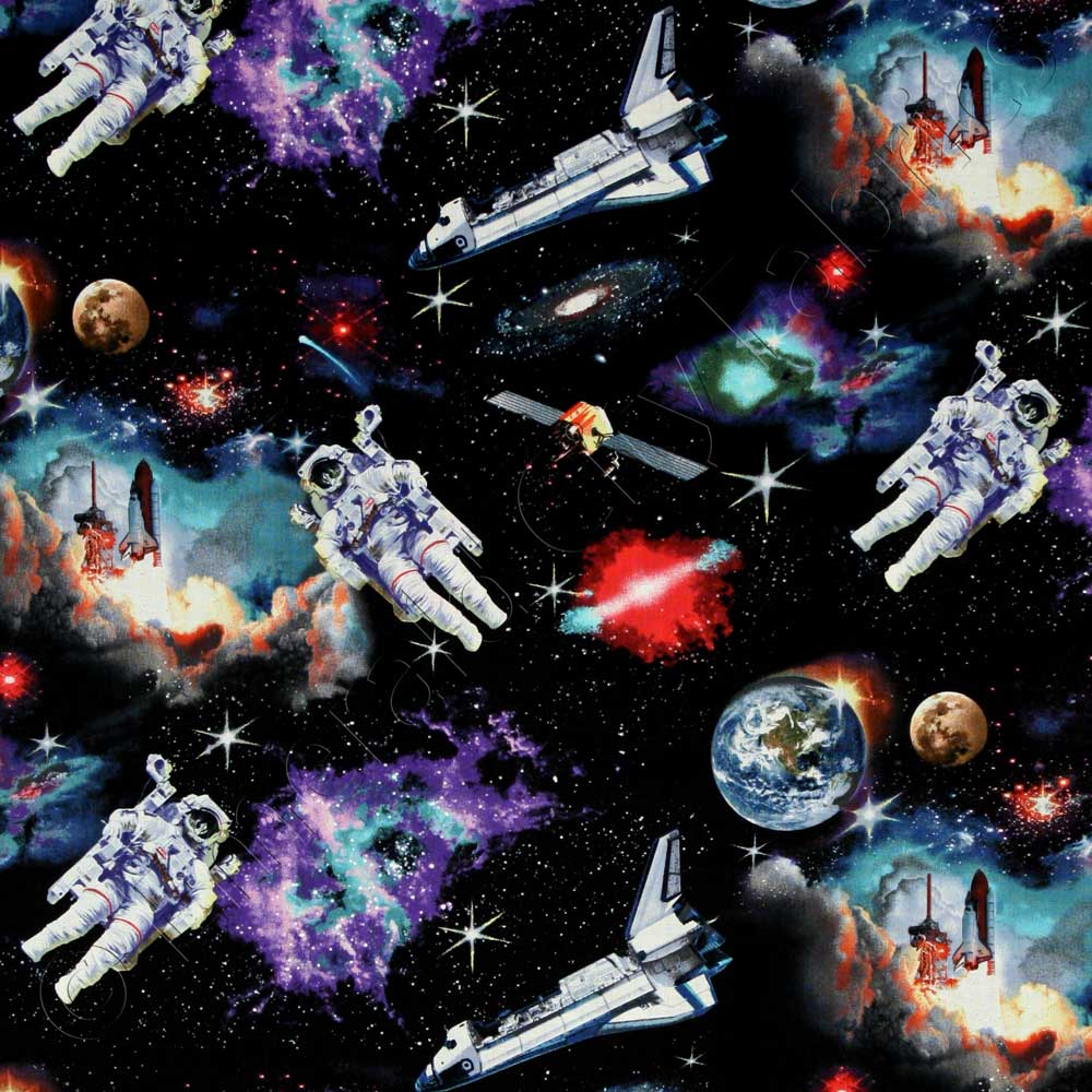 Elizabeth 39 s studio in space astronauts solar system for Space cotton fabric