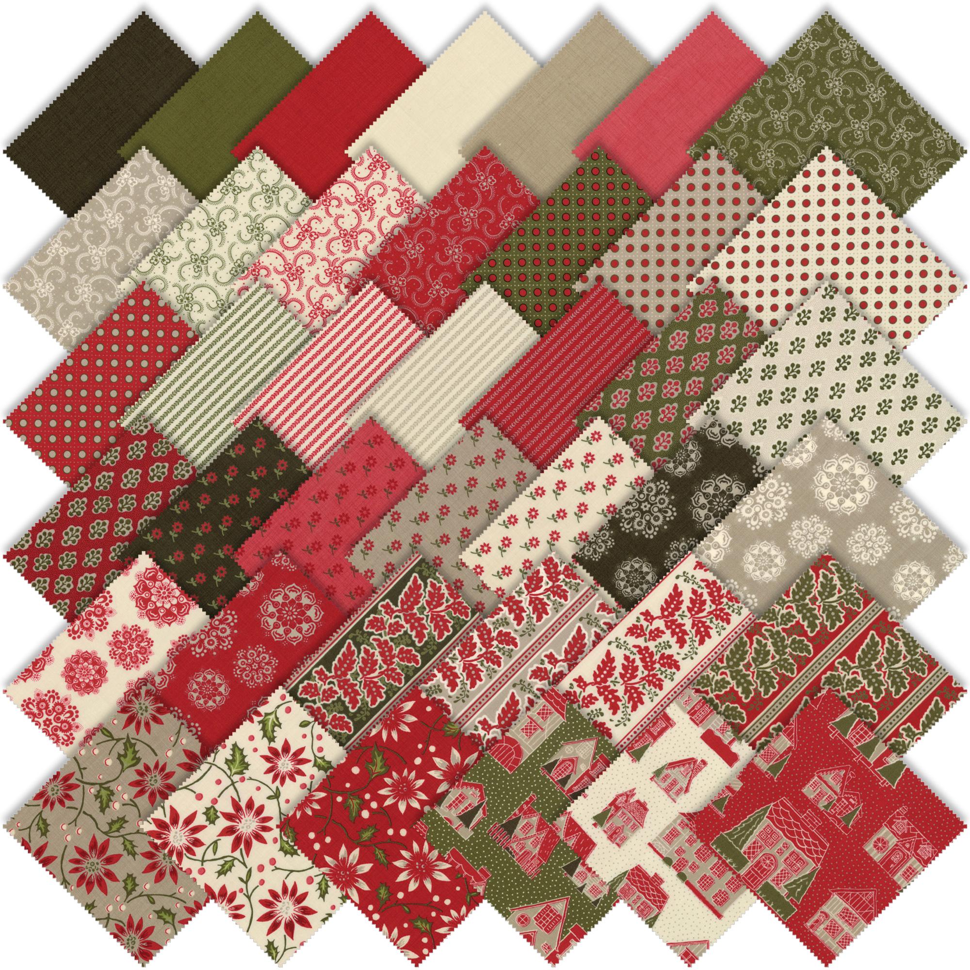 Moda petites maisons de noel fat quarter bundle by french general 13790ab emerald city fabrics - Petites images de noel ...
