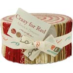 Moda Crazy for Red Jelly Roll, 40 2.5x44-inch Cotton Fabric Strips