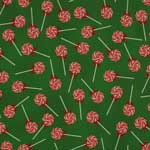 RJR A Gingerbread Christmas Peppermint Lollipops Green Multi Fabric