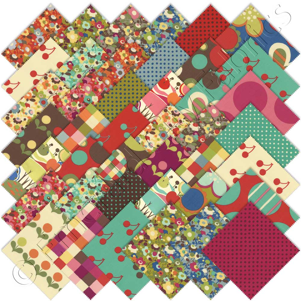 Moda Avant Garden Charm Pack Fabric Squares Cotton Quilting Momo 1960s