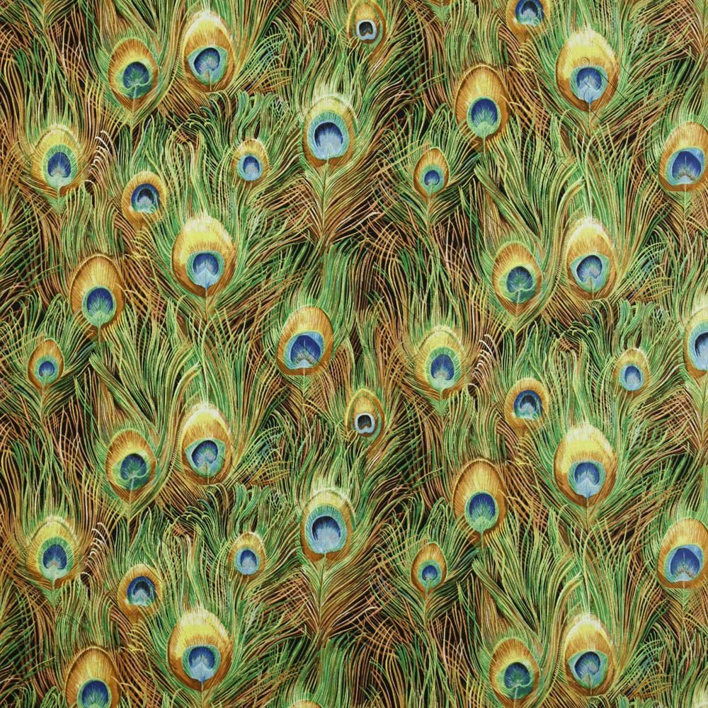Northcott peacock paradise ii peacock feathers gold for Textile fabrics