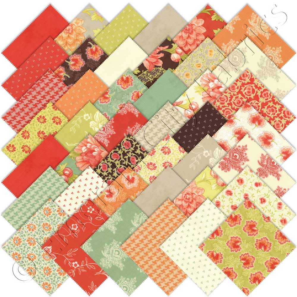 Moda somerset charm pack emerald city fabrics for Quilting material