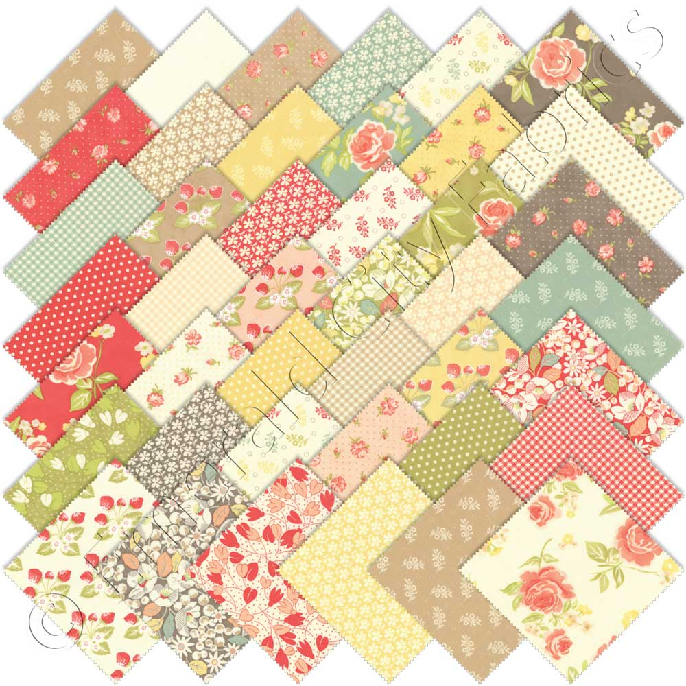 Patchwork Quilting 5 Inch Squares Moda Fabric Love Grows Charm Pack