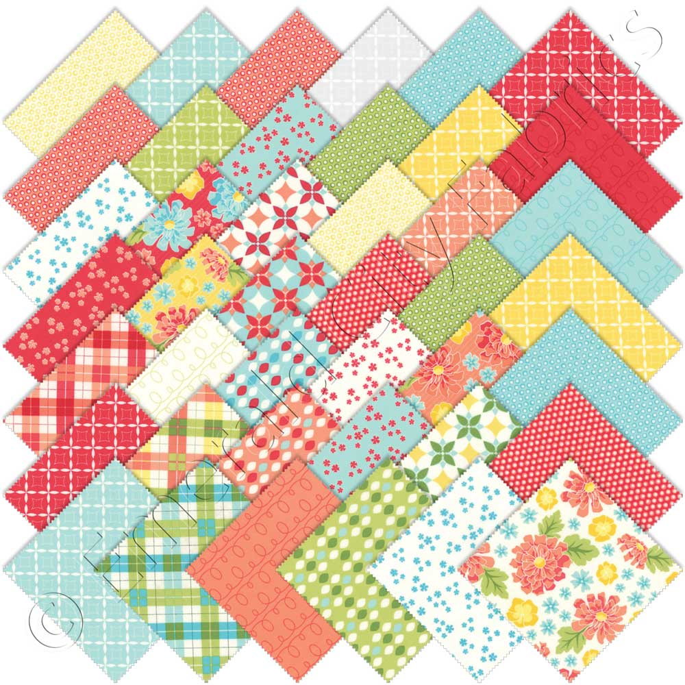 Moda summerfest charm pack emerald city fabrics for Quilting material