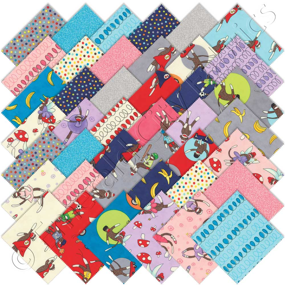 Moda monkey tales charm pack emerald city fabrics for Cotton quilting fabric