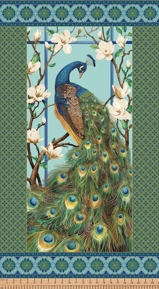 Northcott Stonehenge Peacock Paradise II 20098M-99-100/% Cotton fabric order by Half Yard increments