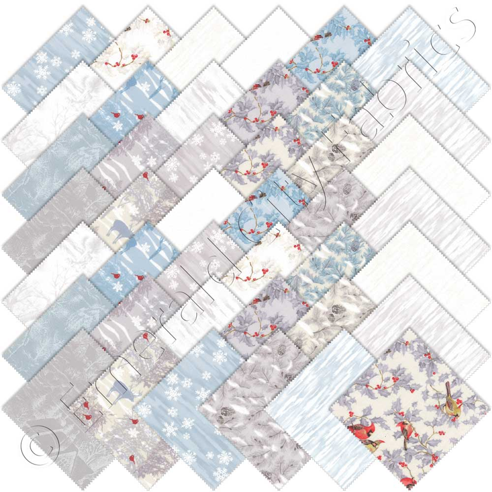 Moda Forest Frost Glitter Silver Metallic Charm Pack