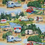 Elizabeth's Studio Vintage Travel Trailers Green Fabric