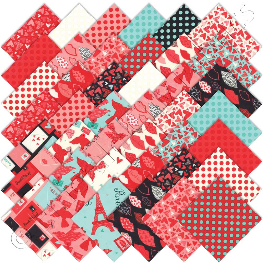 Moda kiss kiss charm pack emerald city fabrics for Quilting material