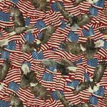 Northcott Stonehenge Land of the Free Stars and Stripes American Flags and Eagles Red Fabric