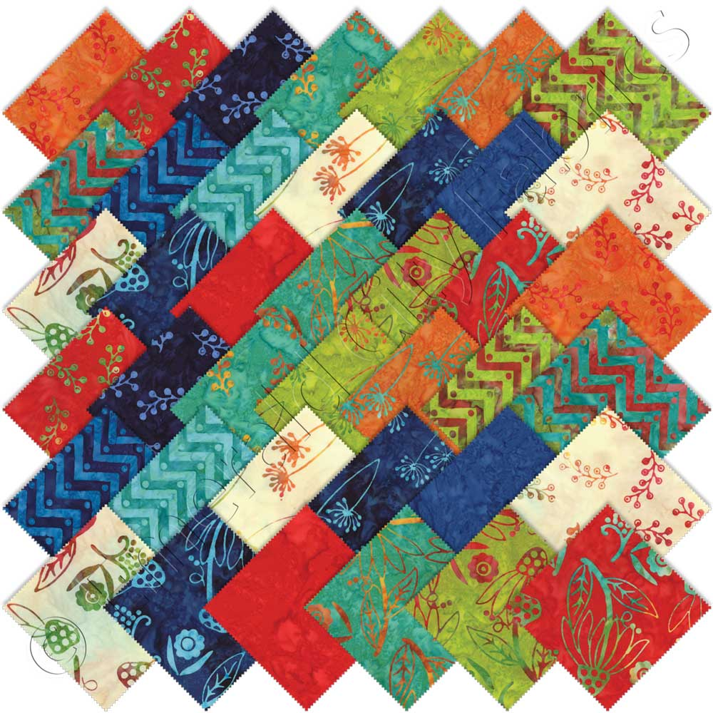 Moda One For You One For Me Batiks Charm Pack Emerald