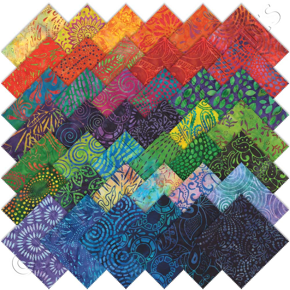 Moda calypso batiks charm pack emerald city fabrics for Fabric sellers