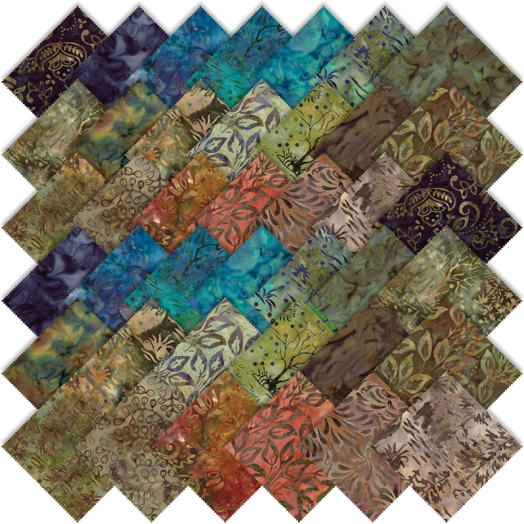 Moda Bear Creek Batiks Layer Cake 4344lc Emerald City