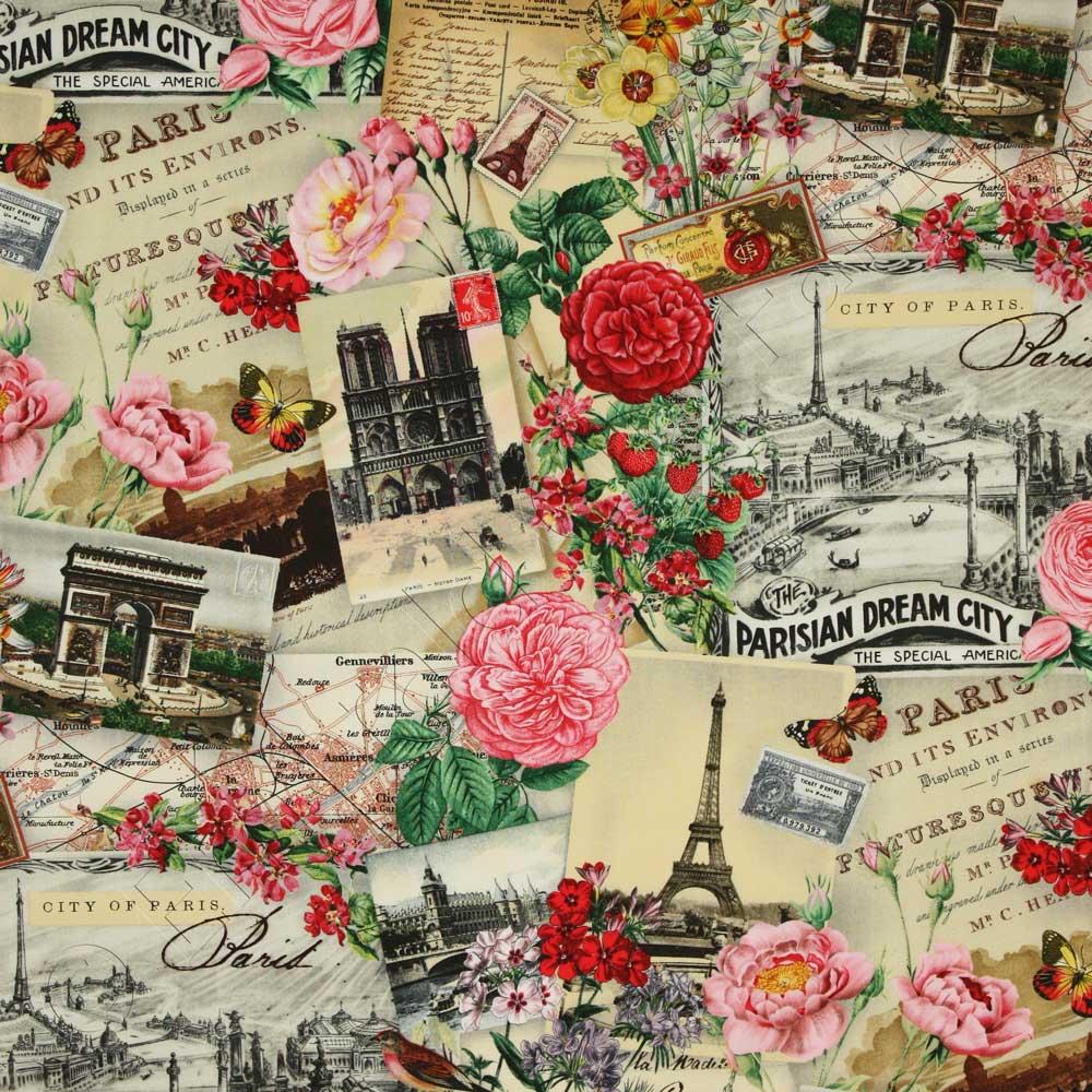 Elizabeth S Studio Spring In Paris Collage Cream Fabric