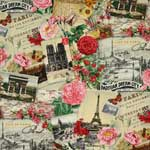 Elizabeth's Studio Spring in Paris Collage Cream Fabric