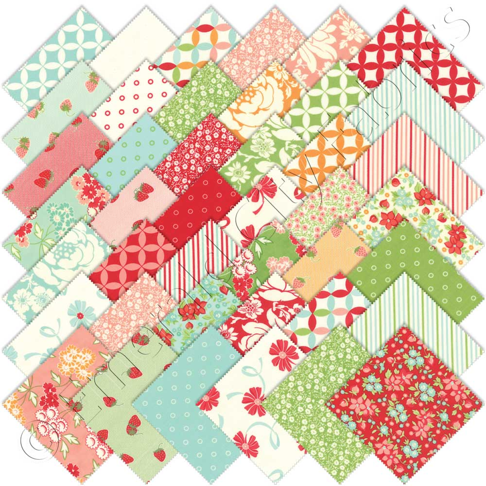 Moda hello darling charm pack emerald city fabrics for Quilting material
