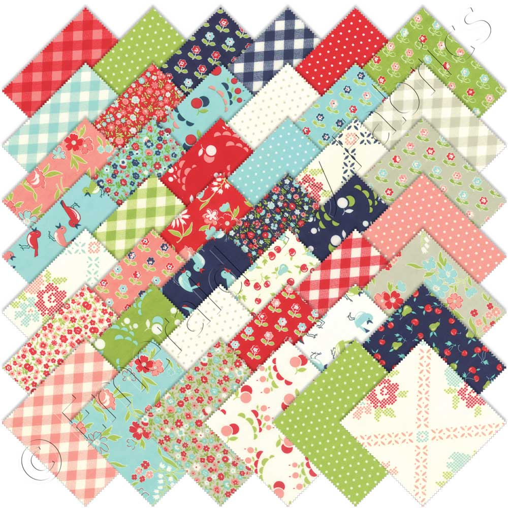 Moda vintage picnic charm pack emerald city fabrics for Moda vintage