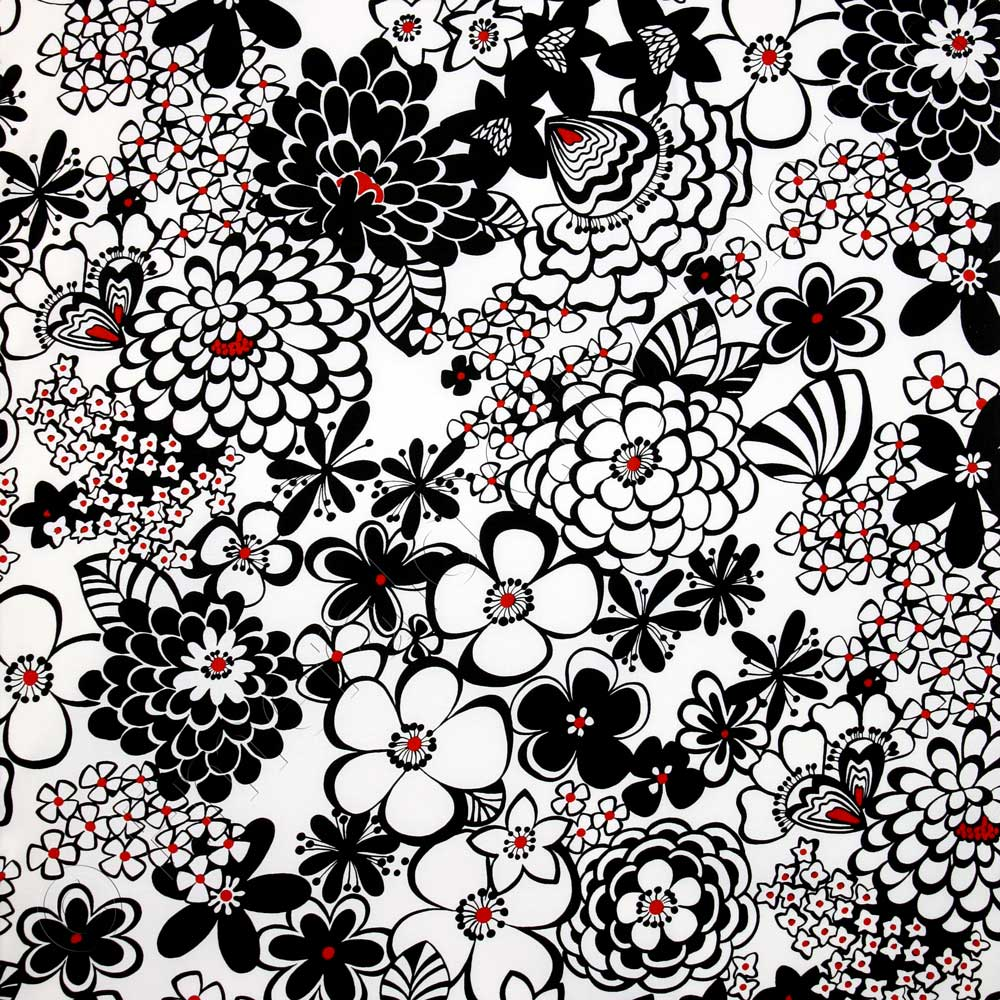 Alexander henry satchi black and white fabric emerald for Black and white fabric