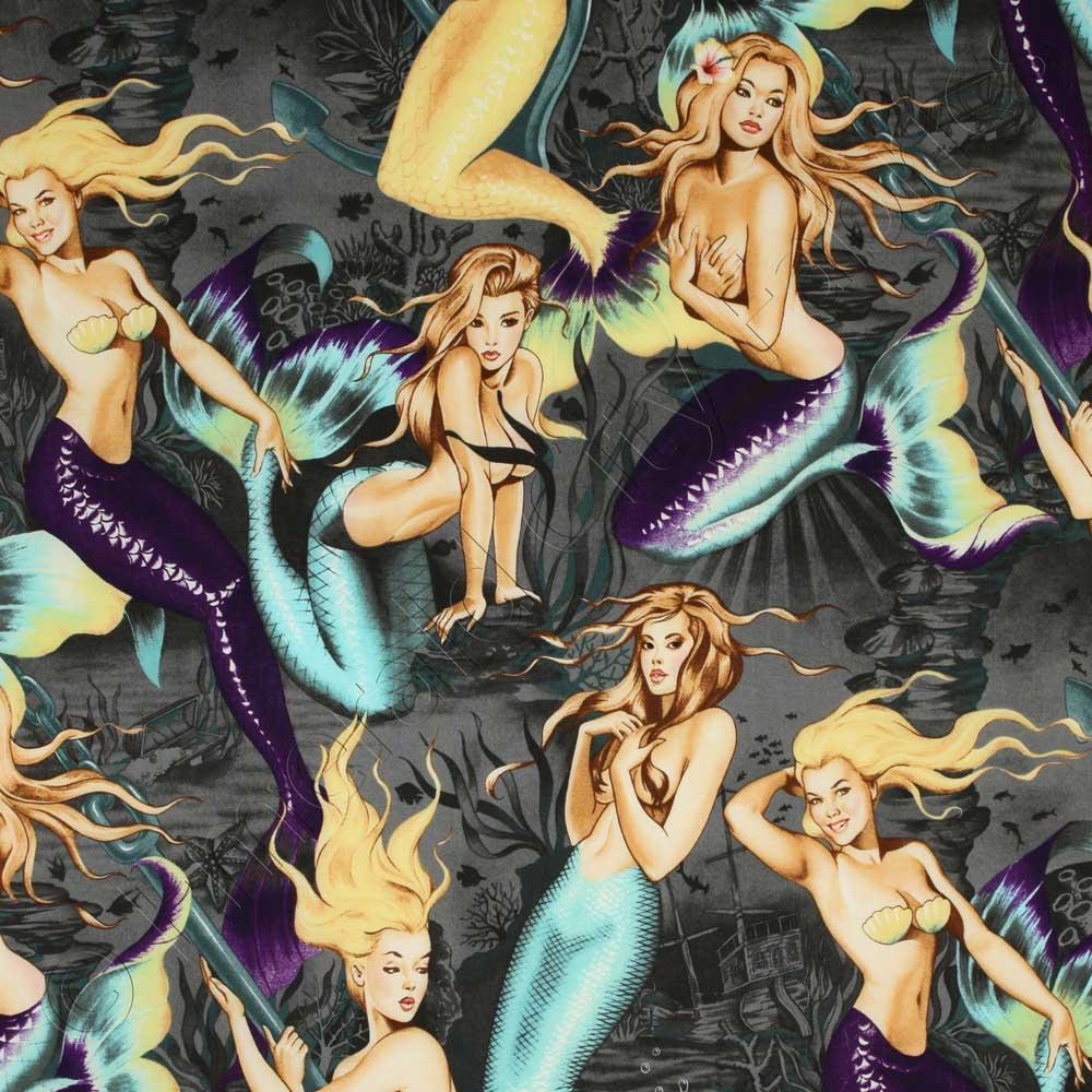 Alexander Henry Sea Sirens Mermaids Charcoal Fabric