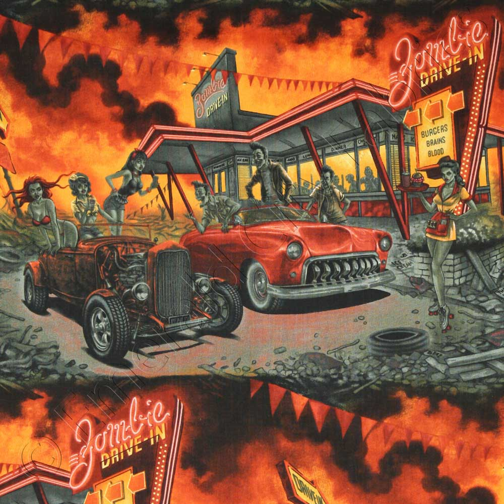 Alexander Henry Zombie Drive In Apocalypse Fabric