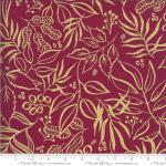 Moda Moody Bloom Leaf It To Me Magenta Metallic Fabric by Create Joy Project