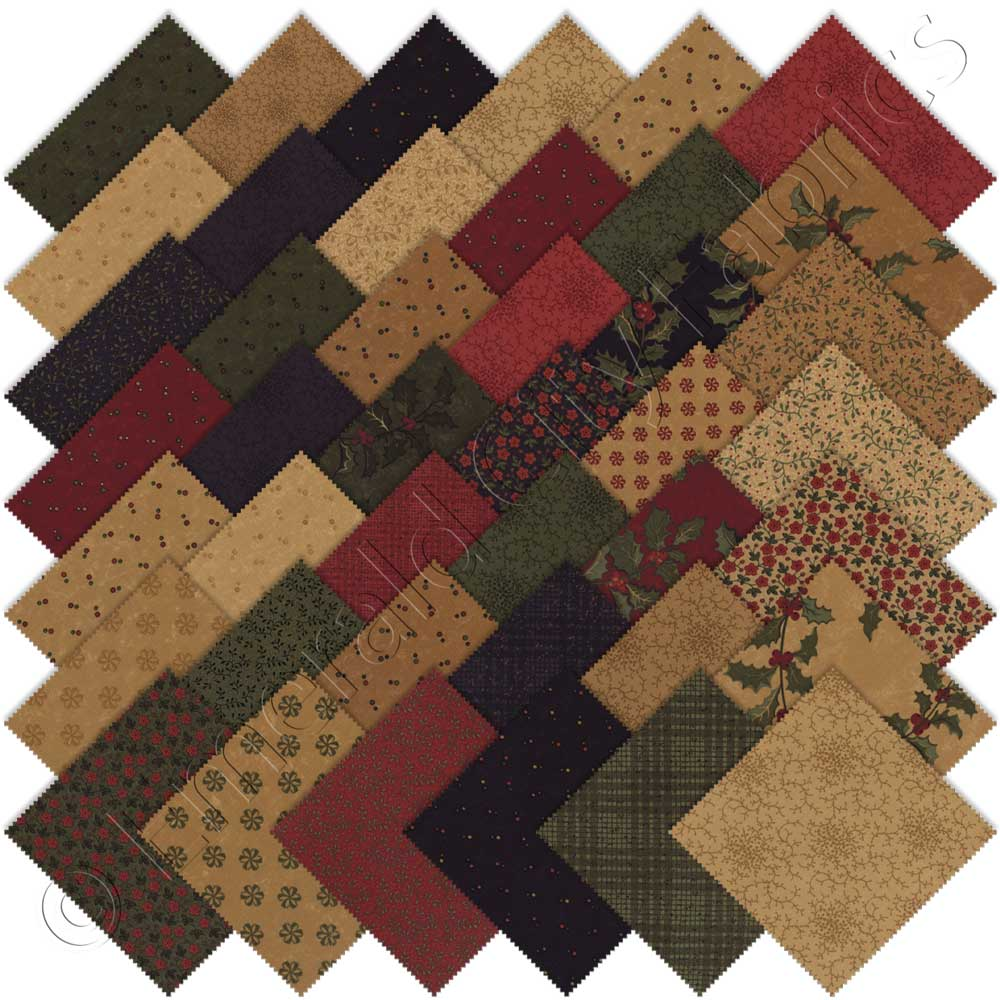 Moda holly wishes charm pack emerald city fabrics for Quilting fabric sale