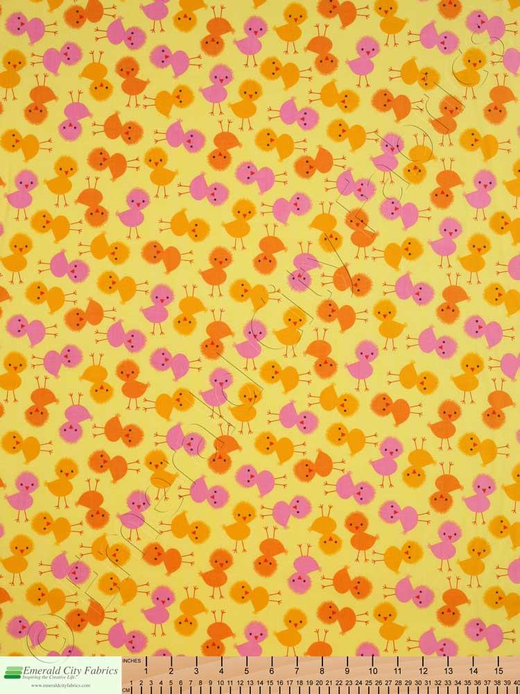 Robert kaufman urban zoologie baby chicks spring yellow for Yellow baby fabric