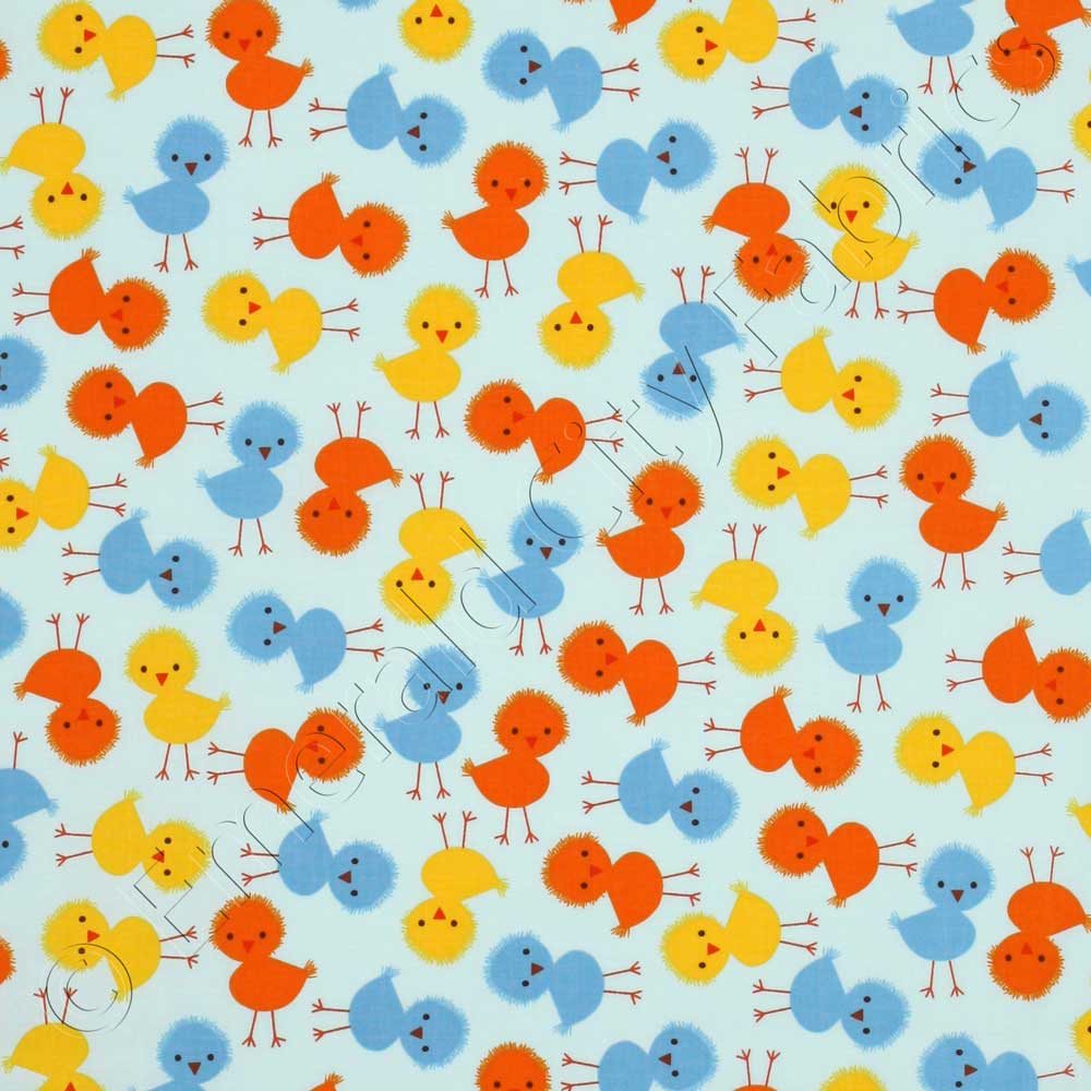 Robert kaufman urban zoologie baby chicks sky blue fabric for Baby fabric by the yard