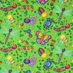 Timeless Treasures Happy Bugs Tossed Lime Green Fabric