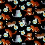 Timeless Treasures Cats and Fish Bowls Black Fabric