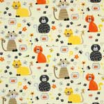 Timeless Treasures Cartoon Cats and Fish Bowls Cream Fabric