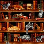 Timeless Treasures Cats in the Library Fabric