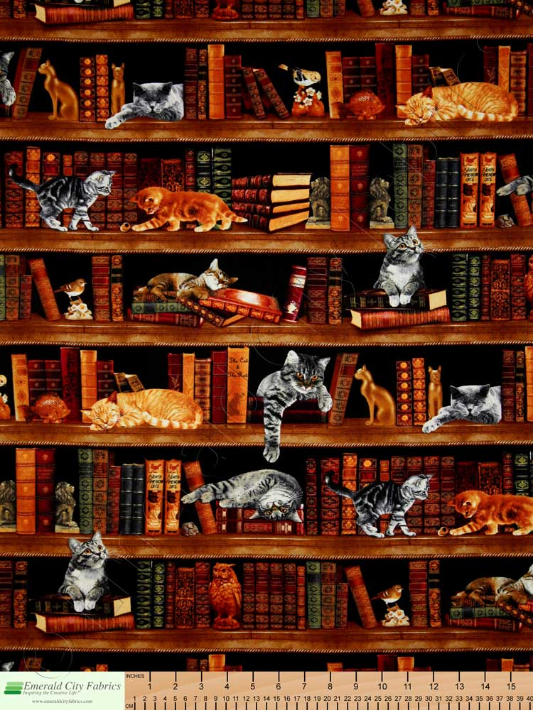 Timeless Treasures Cats In The Library Fabric Emerald