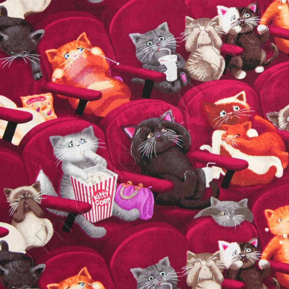 Timeless Treasures Movie Theater Scaredy Cats Wine Red