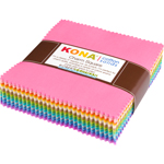 Robert Kaufman Kona Cotton Solids Pastel 101 Charm Pack
