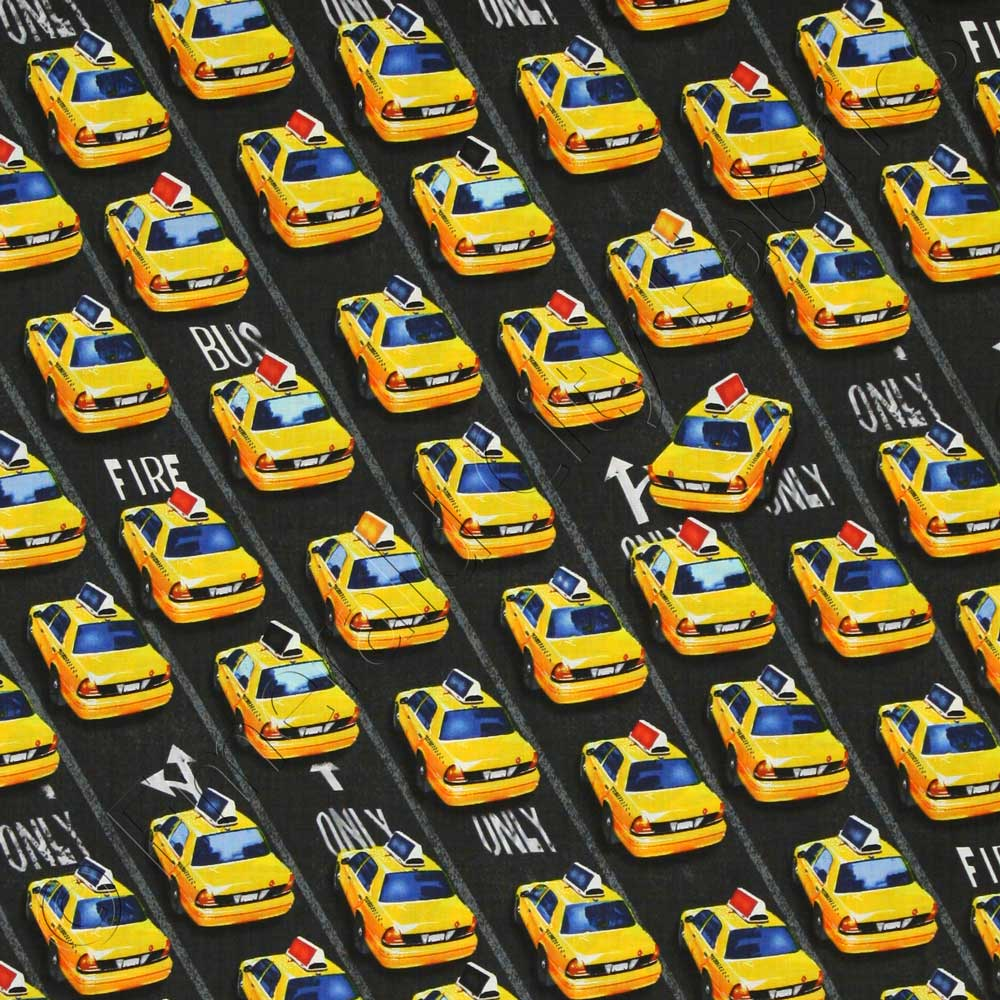 Timeless Treasures New York City Taxi Cabs Black Fabric | Emerald ...