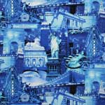 Timeless Treasures New York City Blue Silver Metallic Fabric
