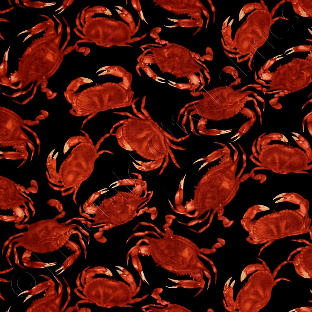 Timeless Treasures Red Crabs Black Fabric Emerald City