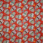 David Textiles Folkloric Sugar Skulls Red Fabric