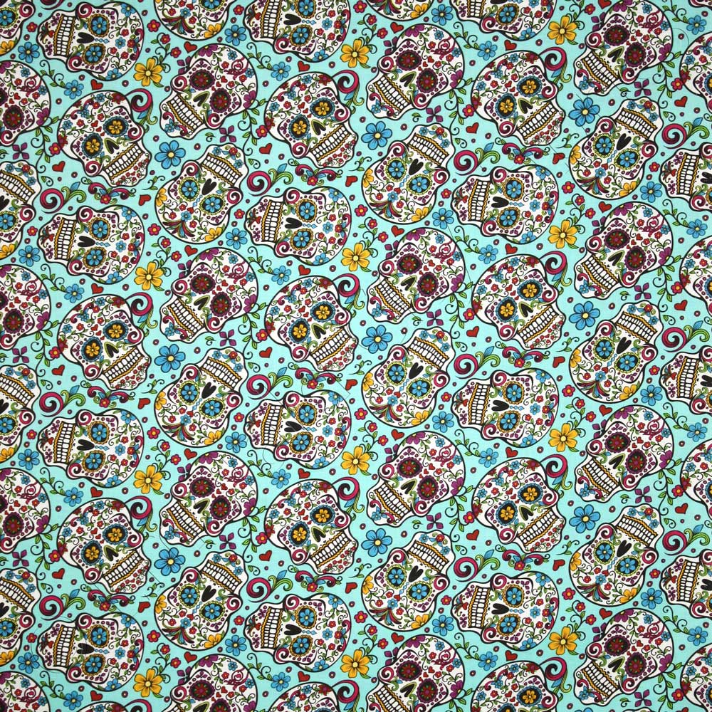 David textiles folkloric sugar skulls turquoise blue for Where to get fabric