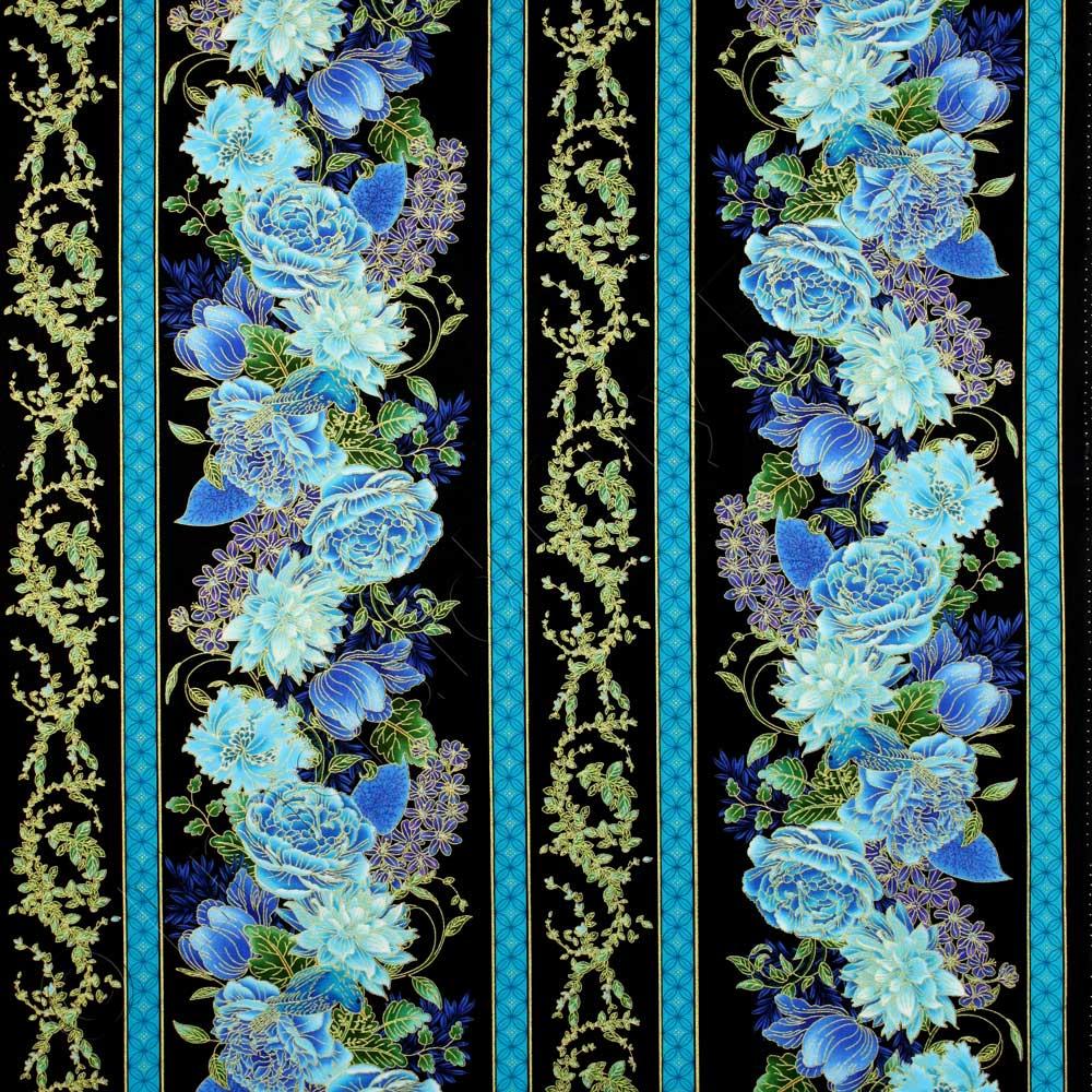 Black Flower Fabric Timeless Treasures Tree Of Life: Timeless Treasures Enchanted Plume Border Stripe Black