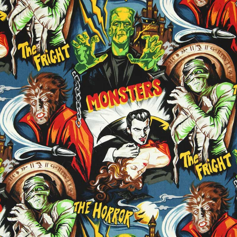 Robert kaufman horror movie monsters midnight fabric for Monster themed fabric
