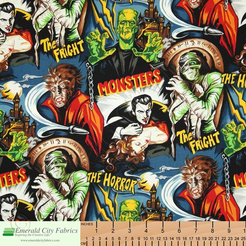 Robert Kaufman Horror Movie Monsters Midnight Fabric