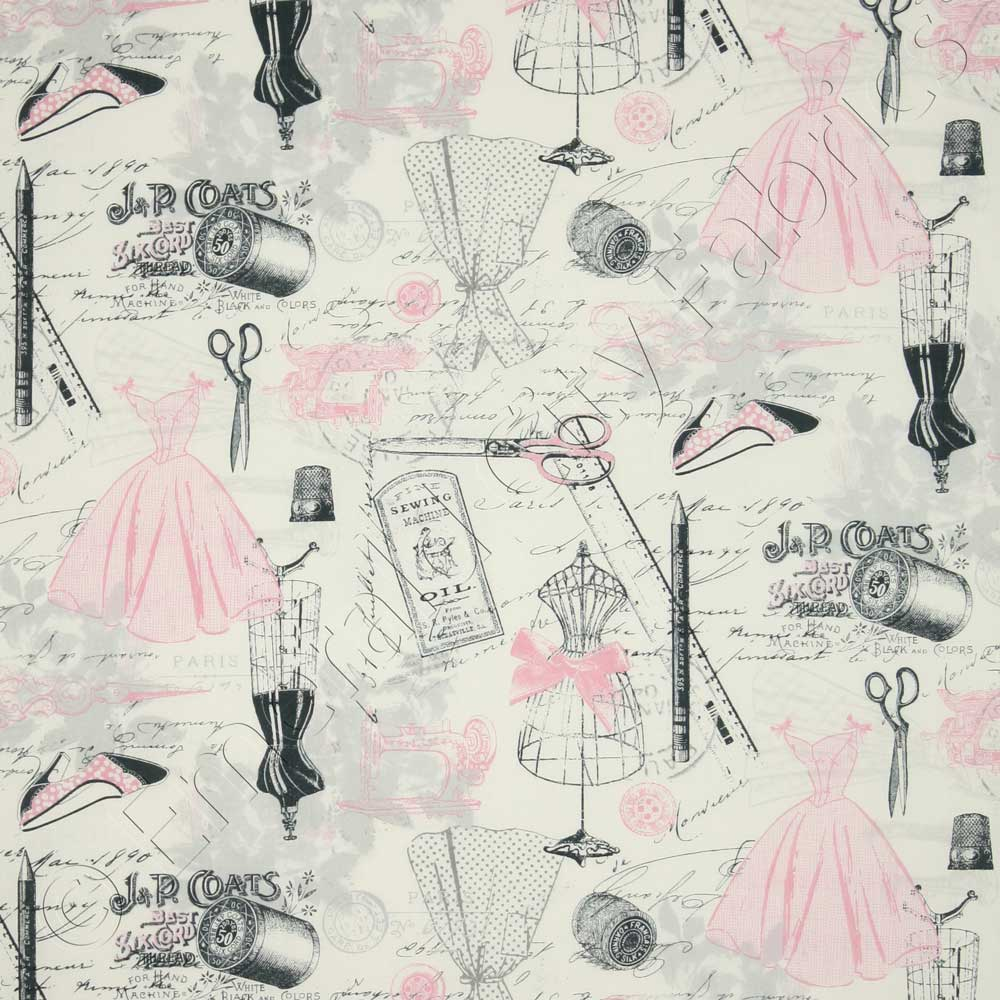 timeless treasures april in paris vintage dressmaking pink fabric emerald city fabrics. Black Bedroom Furniture Sets. Home Design Ideas