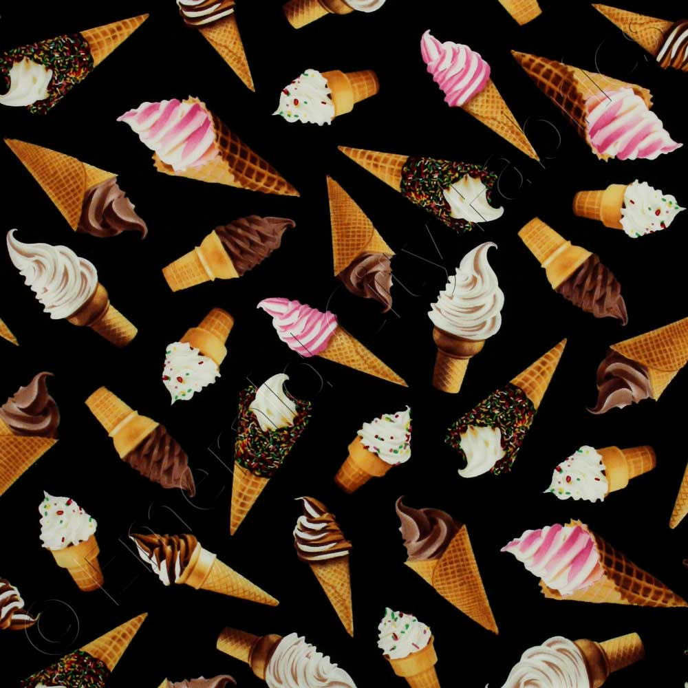 Icing On Fabric: Timeless Treasures Got The Munchies? Ice Cream Cones Black